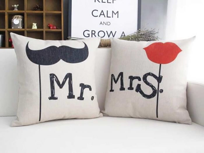Mr Moustache And Mrs Red Lips Couple Cushions