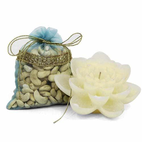 Kaju Dryfruit N Flower Candle
