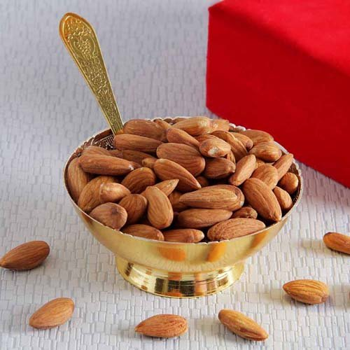 Golden Bowl And Tray Set Of Almonds