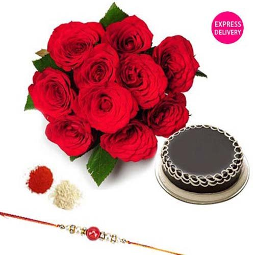 Rakhi Red Roses With Rakhi