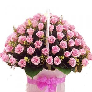 50 Pink Roses Basket