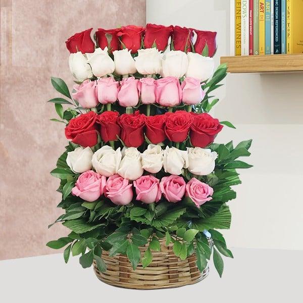 Red, Pink & White Roses Basket