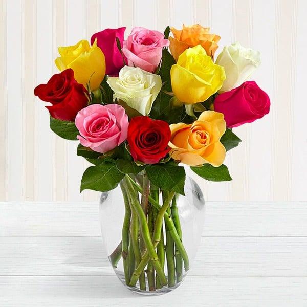 Mixed Roses Vase Arrangement