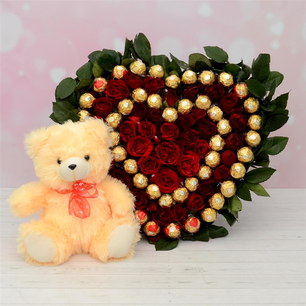 Heart Shape Rose Arrangment & Ferrero Rocher Combo