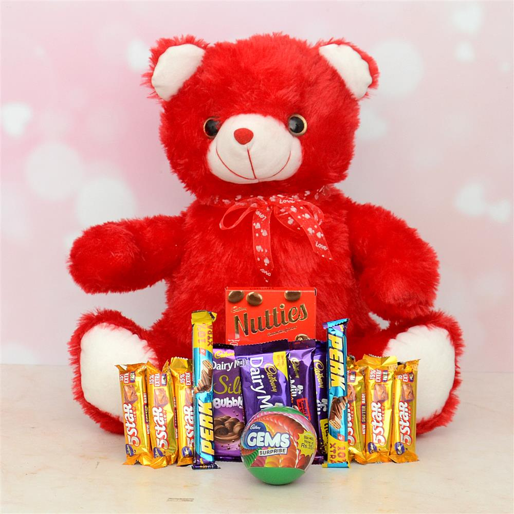 Red Teddy Bear With Chocolates Combo