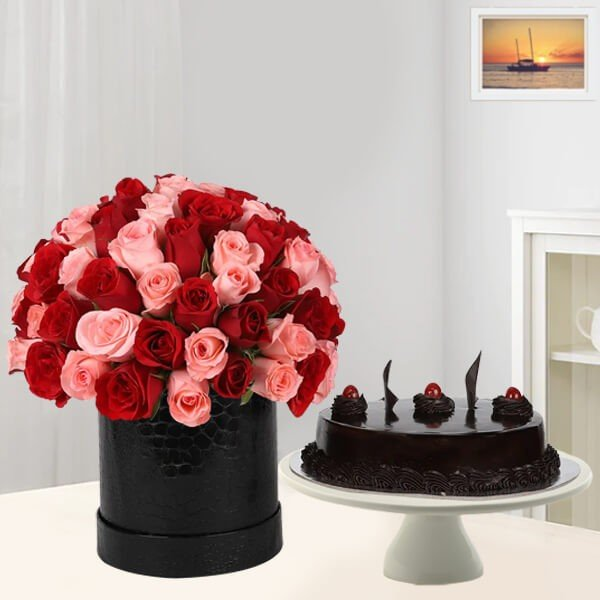 80 Pink - Red Roses Box with Chocolate Cake