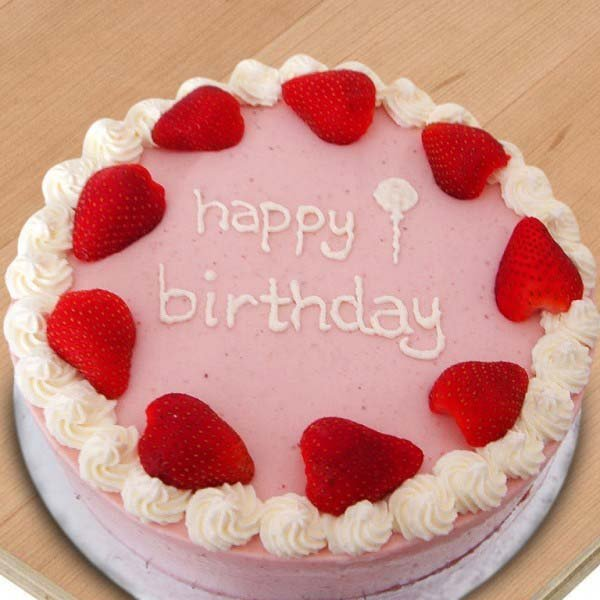 Round Strawberry Birthday Cake