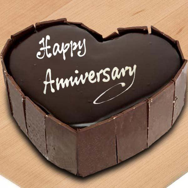 Chocolate Heart Shape Anniversary Cake