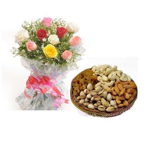 Bunch  Roses with Mixed Dry Fruits