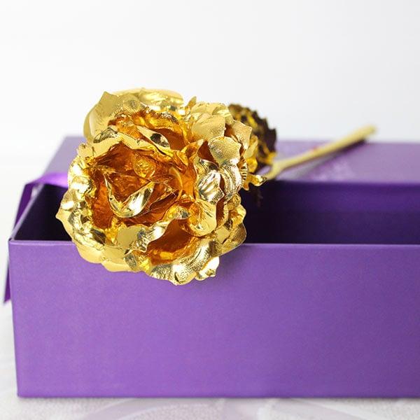 Golden Rose In Purple Box