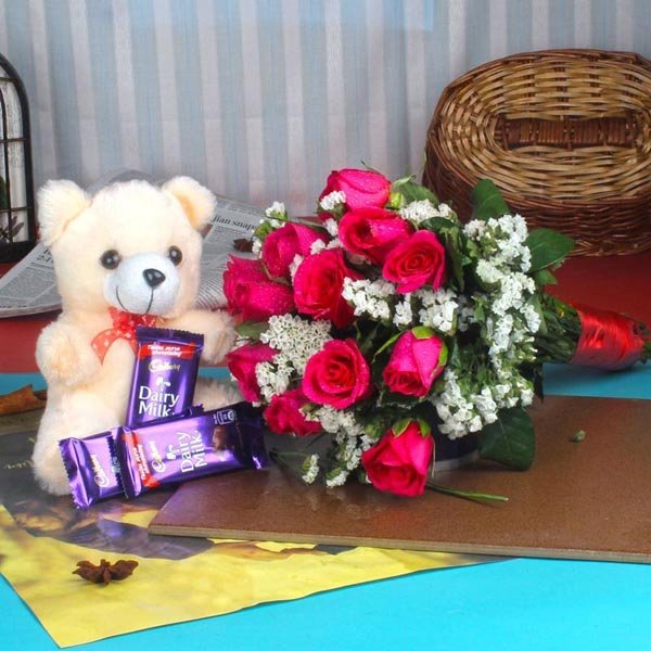 Red Roses with Teddy Bear and Chocolate