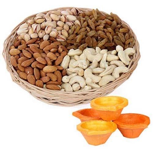 Dry Fruits Basket & Diyas