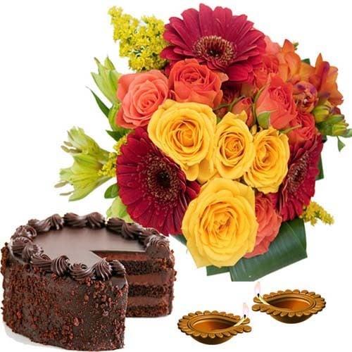 Diwali Chocolate Cake with Flowers