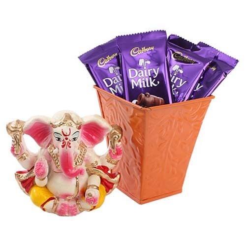 Dairy Milk Basket & Ganesha