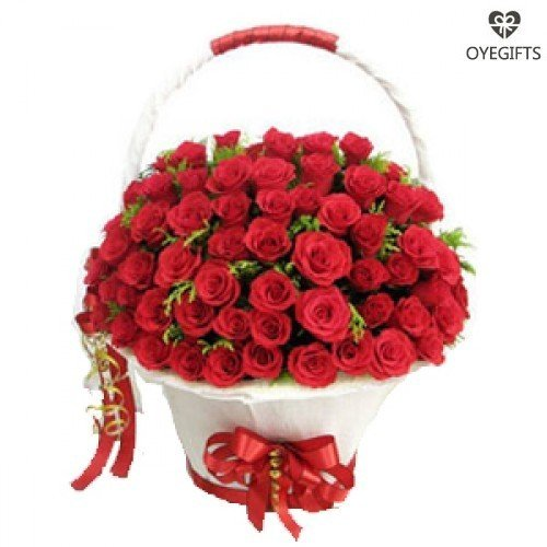 100 Red Colour Roses Basket
