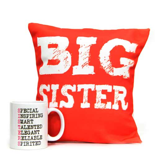 White Mug n Cushion For Sis