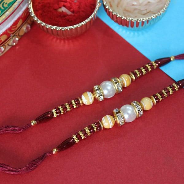 Attractive Beaded Rakhi Pair