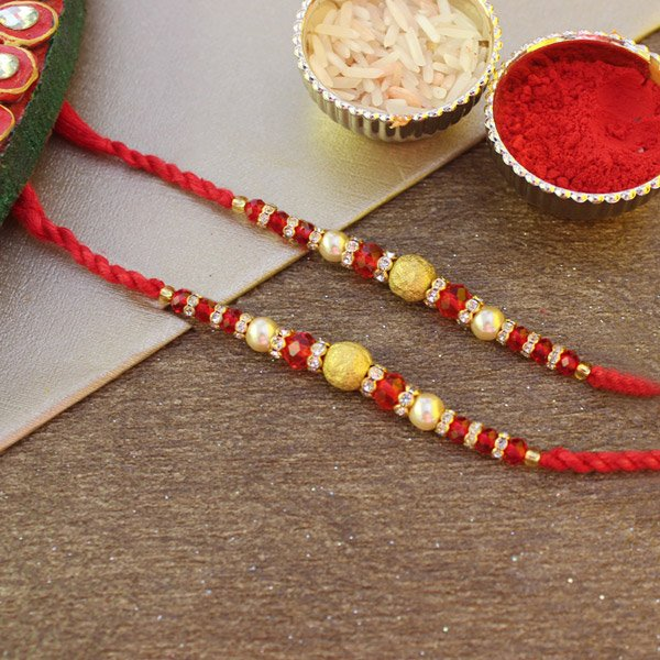 Beaded Stone Studded Pearl Rakhis