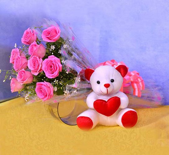 Teddy With Pink Blooms