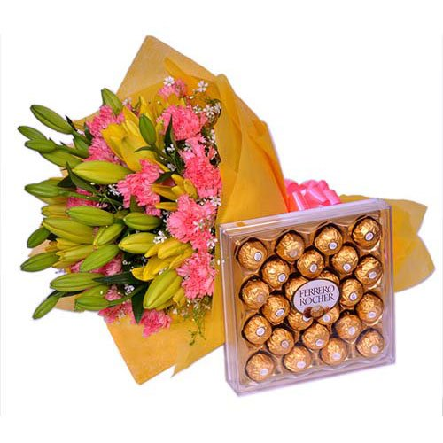 Fancy Blooms With Chocolate Delight