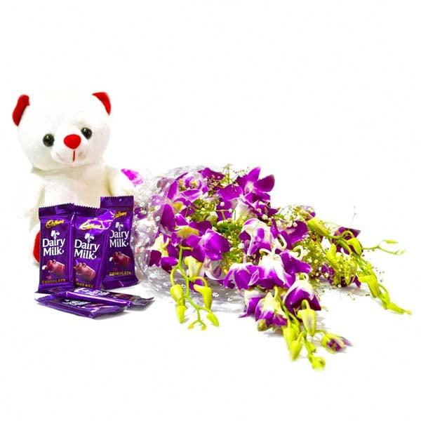 Purple Orchids with Teddy and Cadbury Dairy Milk Chocolate Bars
