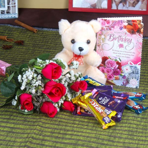 Birthday Roses with Assorted Chocolates and Teddy Bear Only For You