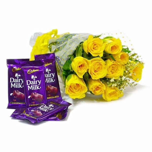 Bunch of 10 Yellow Roses with Cadbury Dairy Milk Chocolate Bars