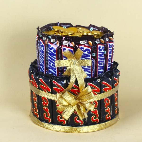 Two Layers Chocolate Bars Cake
