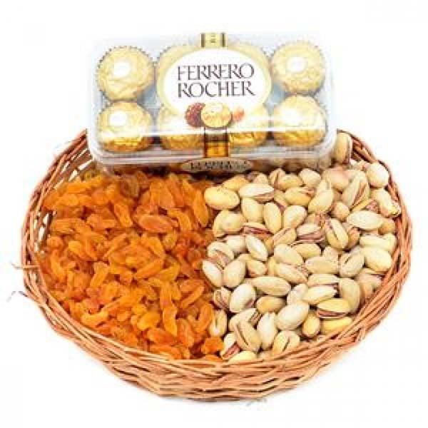 FERRERO ROCHER AND DRY FRUITS BASKET