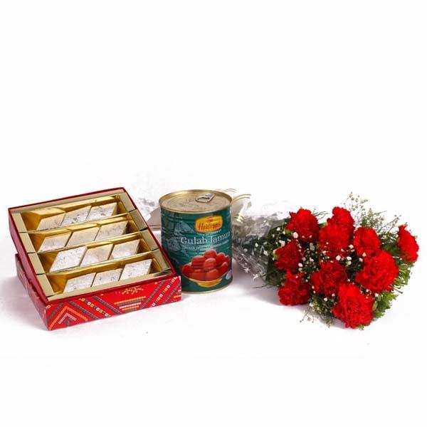 Ten Red Carnation Bunch with Kaju Katli and Gulab Jamuns