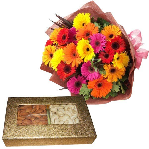Mix colorful gerberas with Dryfruit