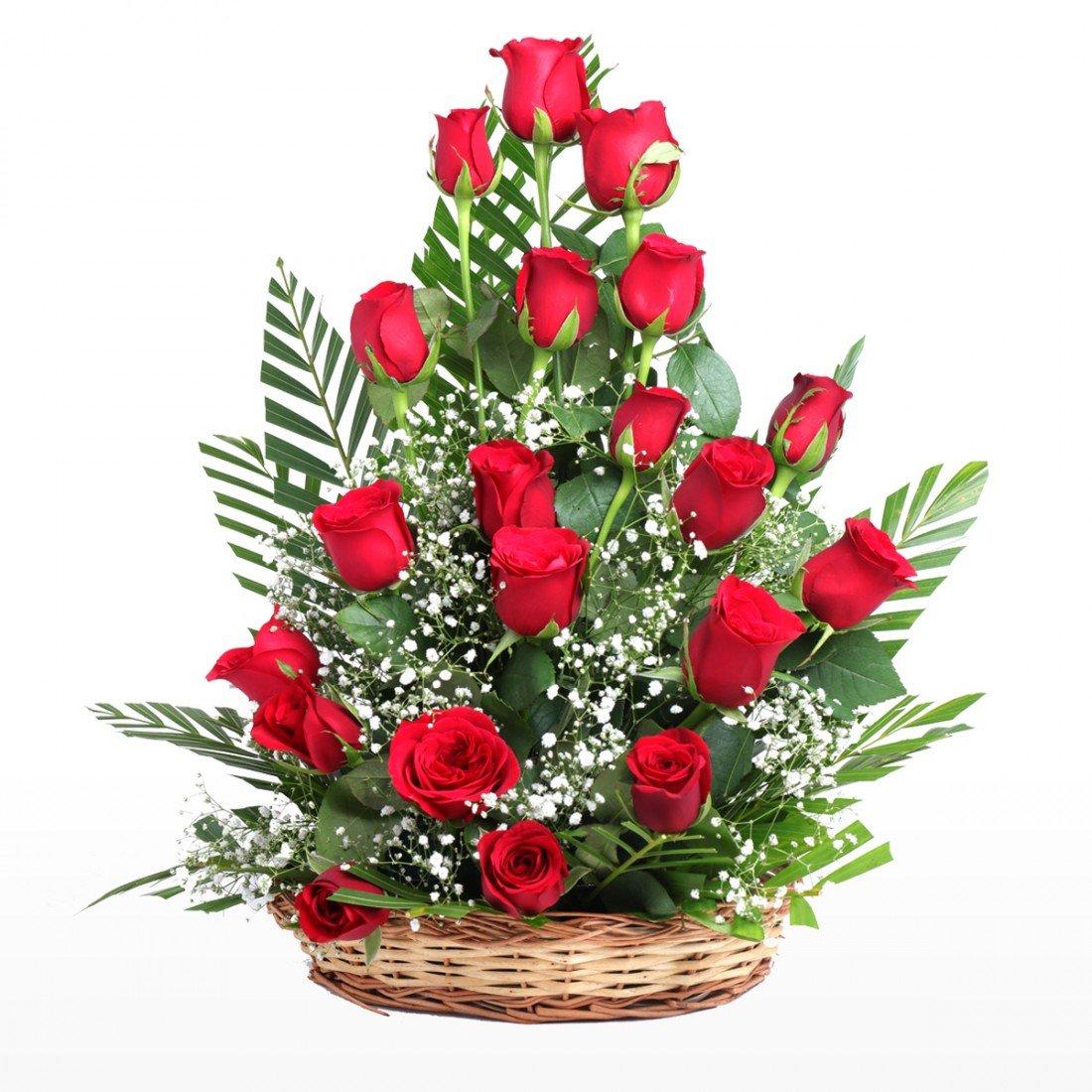 20 Red Roses In Basket
