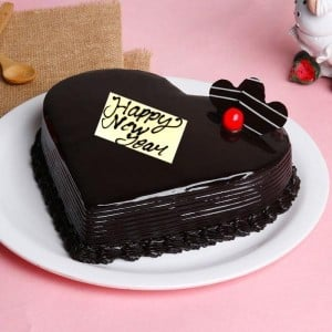 New Year Hearshape chocolate Cake