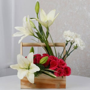 White And Pink Floral Wooden Arrangement