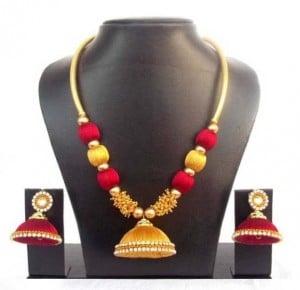 Silk Dori Jewel Set  (Red)