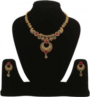 Alloy Jewel Set  (Maroon, Green)