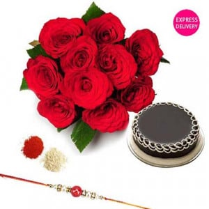 Rakhi Red Roses With Rakhi
