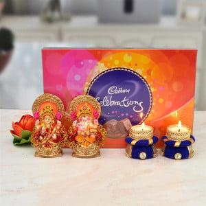 Cadburry Celebration, Mitti Laxmi Ganesh with 2 Purple Diya