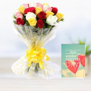 Mix Roses with Greeting Card