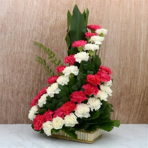 Swirling Red and White Carnations Basket