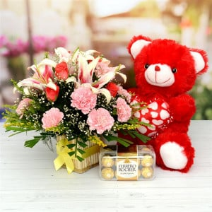 Flower Basket with Teddy and Ferrero Rocher