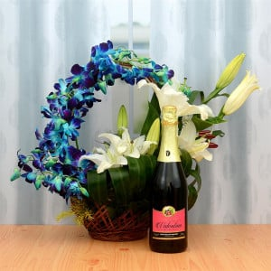 Ambrosial Flower Basket & Fruit Juice