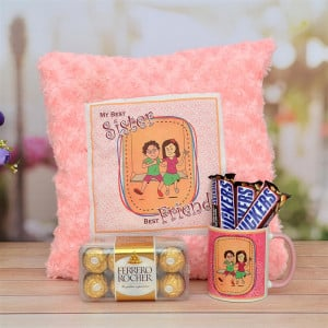Cushion , Ferrero Rocher, Snickers with Mug for Sister