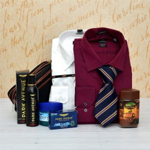 Maroon and White Shirt with Refreshment Kit