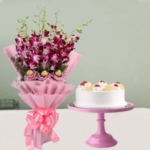 Orchids Bouquet & Pineapple Cake Combo
