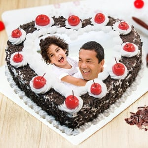 Yummy Black Forest Photo Cake For Dad