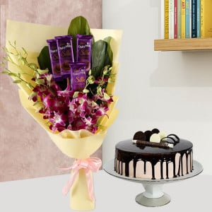 Dairy Milk & Orchids With Chocolate Cake Combo