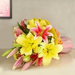 Pink n Yellow Oriental Lilies