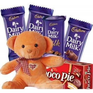Cute Teddy Bear With DairyMIlk Combo