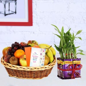 Dairy Milk Lucky Bamboo Hamper with Fruit Basket